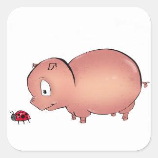 Little Piggy follows Ladybug Square Sticker