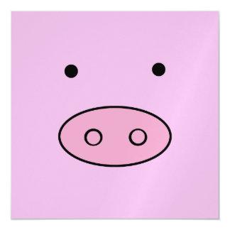 Little Piggy (Pig Face, Pig Nose) - Pink Black Magnetic Invitations