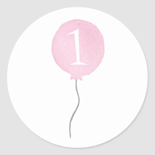 Little Pink Balloon Birthday Number Stickers