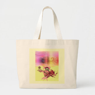 Little pink beastie goes for a run tote bags