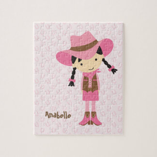 Little Pink Cowgirl {brunette} Jigsaw Puzzle