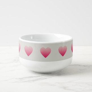 Little pink hearts pattern light grey soup mug