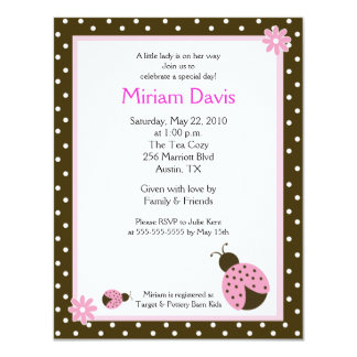"Little Pink Ladybugs 4x5 Baby Shower Invitations 4.25"" X 5.5"" Invitation Card"