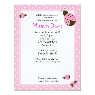 Little Pink Ladybugs 4x5 Baby Shower Invitations
