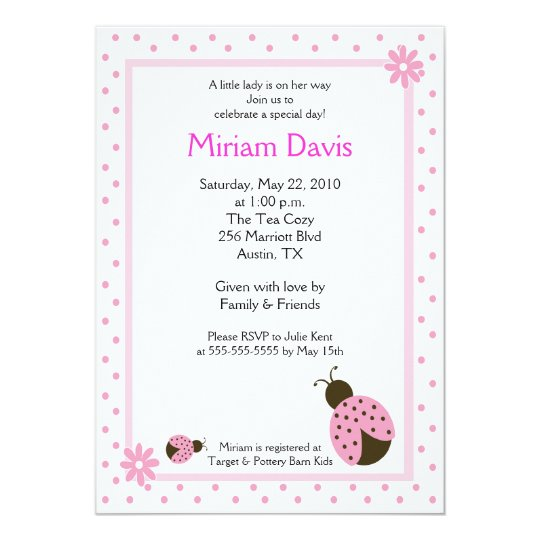 Little Pink Ladybugs 5x7 Baby Shower Invitations