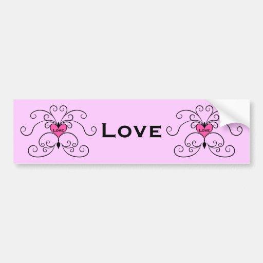 Little pink love heart bumper sticker