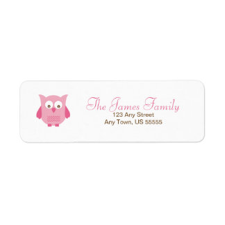Little pink owl address labels