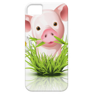 Little pink pig in grass case for the iPhone 5