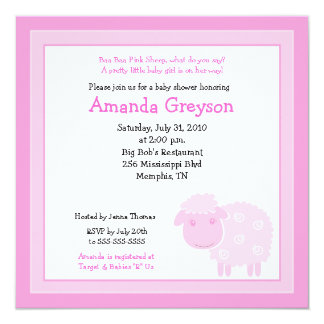 Little Pink Sheep Farm 5x5 Baby Shower Invitation