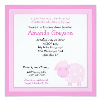 Little Pink Sheep Farm 5x5 Baby Shower Invitation