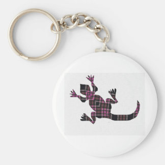 little pink tartan gekko lizard basic round button key ring