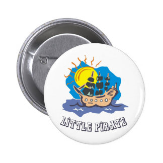 Little pirate toddler on a sailboat on the sea 6 cm round badge