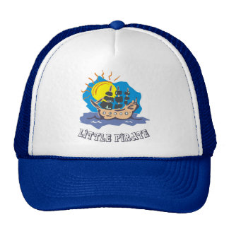 Little pirate toddler on a sailboat on the sea trucker hat