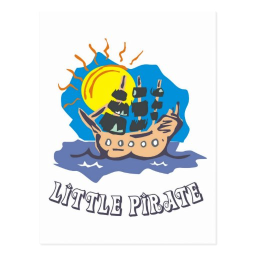Little pirate toddler on a sailboat on the sea post cards