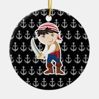 Little pirate with anchor christmas ornament
