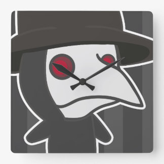 Little Plague Doctor Square Wall Clock