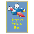 Little Plane in Clouds 1st Birthday Card
