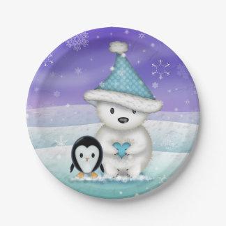 Little Polar Bear and Penguin Holiday Plates