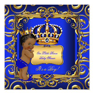 Little Prince Baby Shower Blue African American 13 Cm X 13 Cm Square Invitation Card