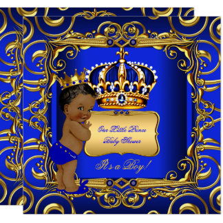 Little Prince Baby Shower Blue African American Card