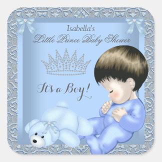 Little Prince Baby Shower Boy Blue Damask Toy 4 Square Sticker