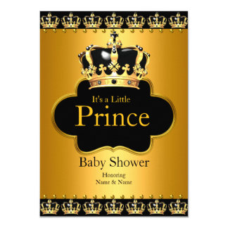 Little Prince Baby Shower Boy Crown Black Gold 11 Cm X 16 Cm Invitation Card