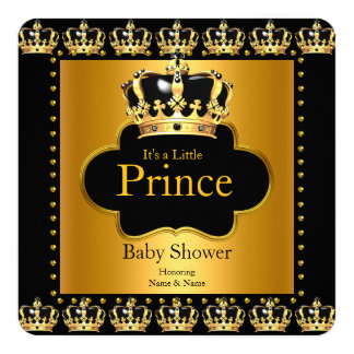 Little Prince Baby Shower Boy Crown Black Gold 13 Cm X 13 Cm Square Invitation Card