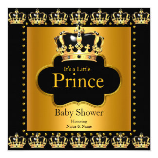 Little Prince Baby Shower Boy Crown Black Gold Card