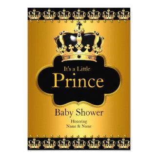 Little Prince Baby Shower Boy Crown Black Gold 11 Cm X 16 Cm Invitation Card