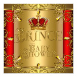 Little Prince Baby Shower Boy Red Gold Crown Personalised Invitation