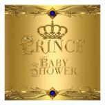 Little Prince Baby Shower Boy Regal Blue Crown 6 Custom Announcement