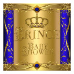 Little Prince Baby Shower Boy Regal Blue Crown 9 Custom Invitations