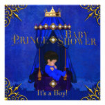 Little Prince Baby Shower Boy Royal Blue Crown Personalized Invitation