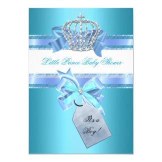 Little Prince Baby Shower Boy Teal Blue Crown 3 13 Cm X 18 Cm Invitation Card