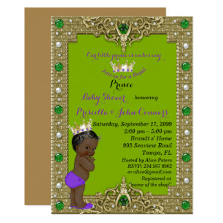 Little Prince Baby Shower Invitation, gold, green Card