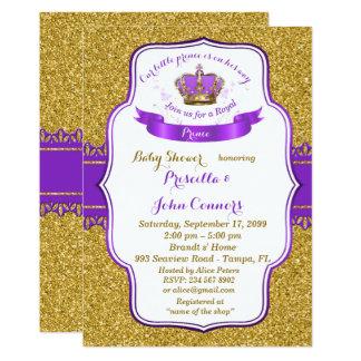 Little Prince Baby Shower Invitation, gold, purple Card