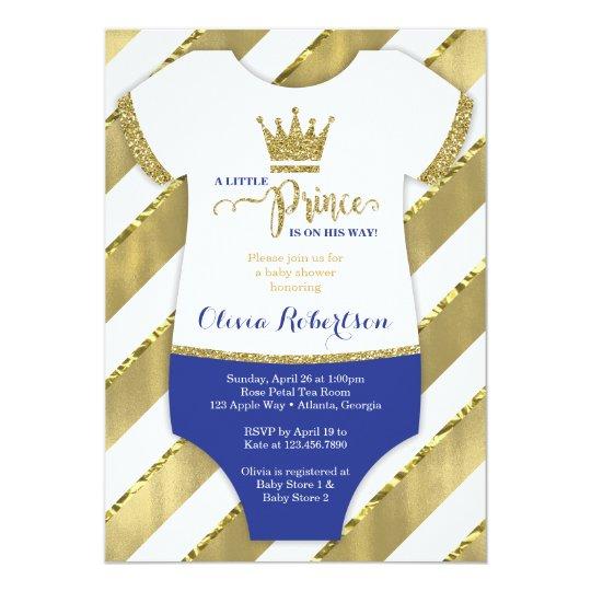 Little Prince Baby Shower Invite Faux Glitter Card Zazzlecouk