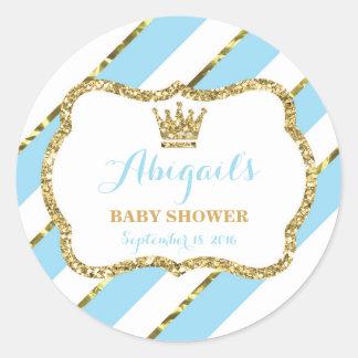 Little Prince Baby Shower Sticker, Baby Blue Gold Round Sticker