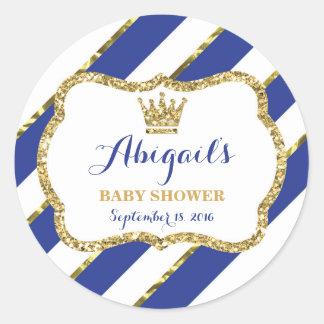 Little Prince Baby Shower Sticker, Royal Blue Gold Round Sticker