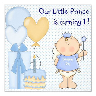 Little Prince Boys 1st Birthday Party 13 Cm X 13 Cm Square Invitation Card