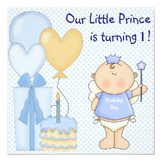 Little Prince Boys 1st Birthday Party Announcement