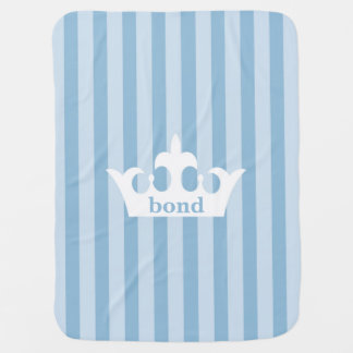 Little Prince Crown Blue Striped Baby Blanket