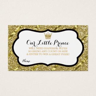 Little Prince Diaper Raffle Ticket, Faux Glitter