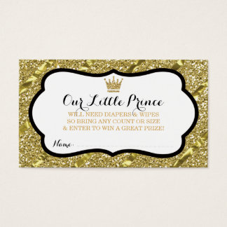 Little Prince Diaper Raffle Ticket, Faux Glitter Business Card
