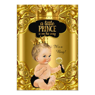 Little Prince is on his way Baby Shower Blonde 13 Cm X 18 Cm Invitation Card