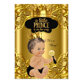 Little Prince is on his way Baby Shower Brunette 13 Cm X 18 Cm Invitation Card