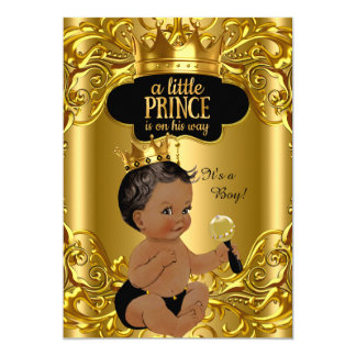 Little Prince is on his way Baby Shower Ethnic 13 Cm X 18 Cm Invitation Card