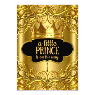 Little Prince is on his way Baby Shower Golden 13 Cm X 18 Cm Invitation Card