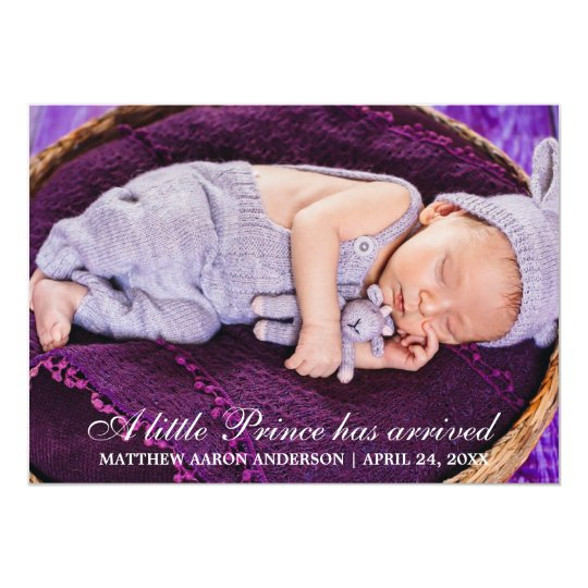 Little Prince New Baby Photo Announcement Card
