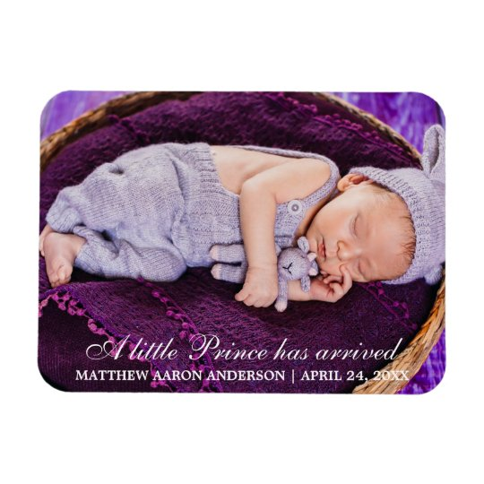 Little Prince New Baby Photo Announcement Magnet
